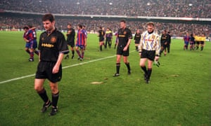 Denis Irwin, Gary Walsh and Gary Pallister trudge off after United's hiding in the Camp Nou.