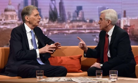 The chancellor Philip Hammond (left) has been urged by his shadow, John McDonnell, to reverse cuts to disability benefits.