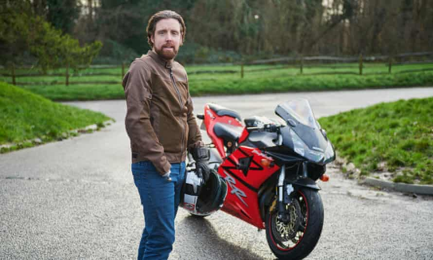 Ollie Hancock with a motorbike