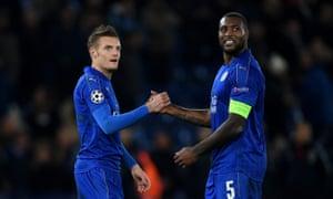 Jamie Vardy and Wes Morgan celebrate after beating Club Brugge.