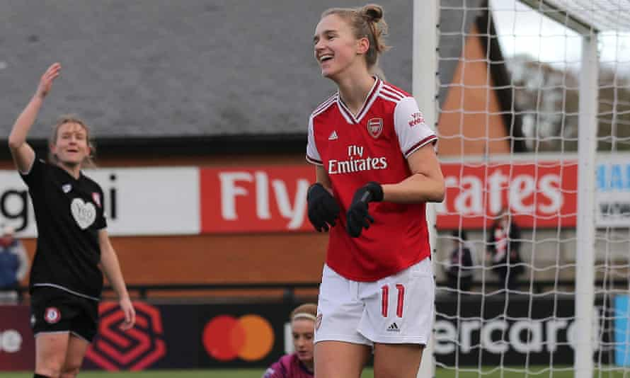 Vivianne Miedema celebrates one of the six goals she scored against Bristol City in December