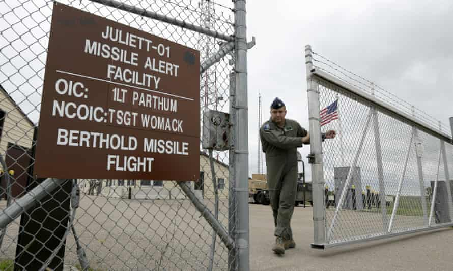 A gate is closed on 24 June 2014 at an ICBM launch control facility outside Minot, North Dakota on the Minot Air Force Base.