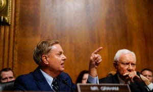 Lindsey Graham, left, and Orrin Hatch, right, were two of the Republican senators targeted by Jackson Cosko for their role in the confirmation of the supreme court justice Brett Kavanaugh.