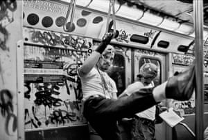 New York, 1985 USA. New York City. Guardian angels in the underground. 1985