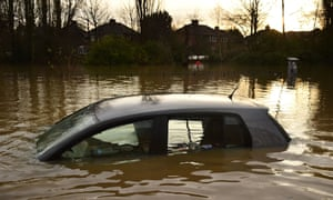 Vehicles in the Huntington Road area of York after the River Foss burst its banks
