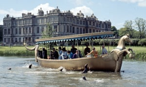 Longleat House with boat and seals