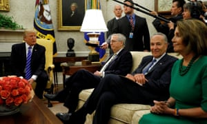 Trump in the White House with Mitch McConnell, Chuck Schumer and Nancy Pelosi. Daniel Larison in the American Conservative wrote: 'He will get rolled in any negotiation he enters.'