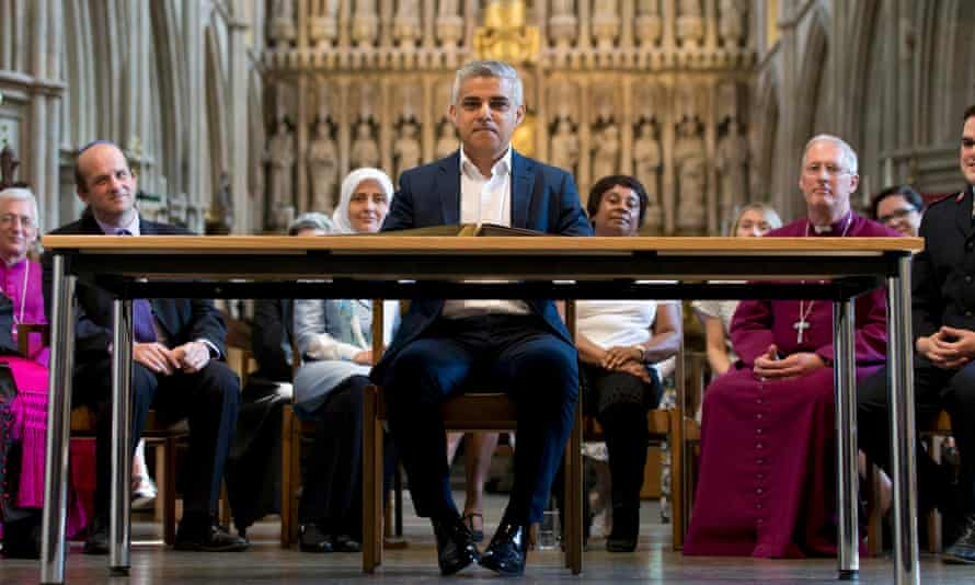 Sadiq Khan attends the mayor of London signing ceremony in Southwark Cathedral on 7 May 2016.