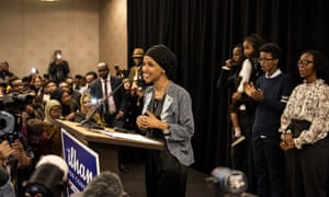 Minnesota Democratic congressional candidate Ilhan Omar speaks at an election night results party on 6 November 2018 in Minneapolis, Minnesota.