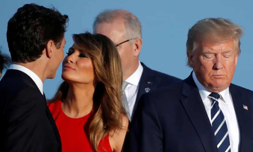 Justin Trudeau and Melania Trump stand next to Donald Trump in Biarritz, France, on 25 August.