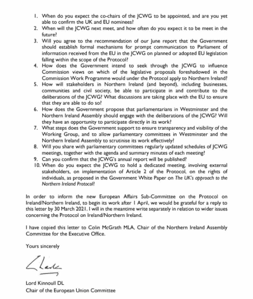 10 questions from Lord Kinnoull to Lord Frost over the Brexit joint consultative working group.