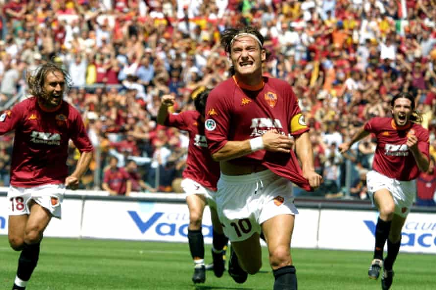 Francesco Totti scores against Parma on the final day as Roma clinch the 2001 Scudetto.