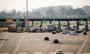 The Severn Bridge toll station on the Welsh side.