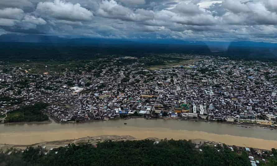 An aerial view of Tumaco, Colombia, an impoverished and violent port city on the Pacific coast where residents are banned by gangs from fishing, limiting their ability to earn money and food, and a 5pm curfew has forced street vendors inside.