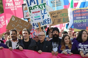The actors Sir Patrick Stewart and Paul McGann join protesters.