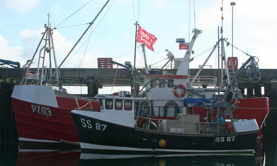 Fishing boats with Vote Leave flags in Newlyn harbour