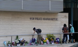 Tributes to police worker Curtis Cheng outside Parramatta police station.