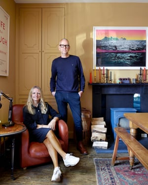 'I have an aversion to white': artist Clare Woods with sculptor Des Hughes in their dining room.