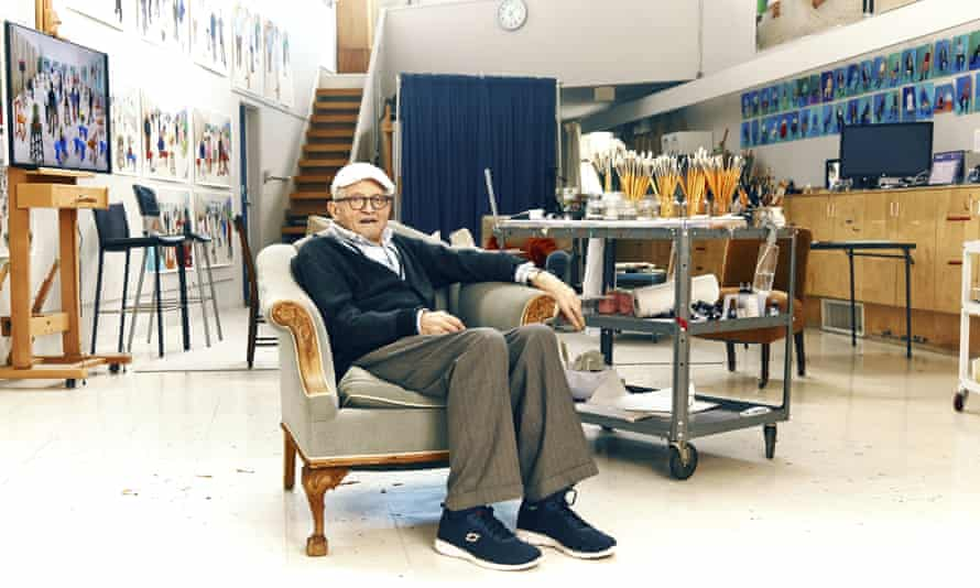 David Hockney at home in the Hollywood Hills. He returned to LA last year