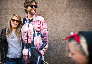 Brian Geraghty, 38, from Medford, Massachusetts, wore a Bernie onesie at the Washington Square Park rally