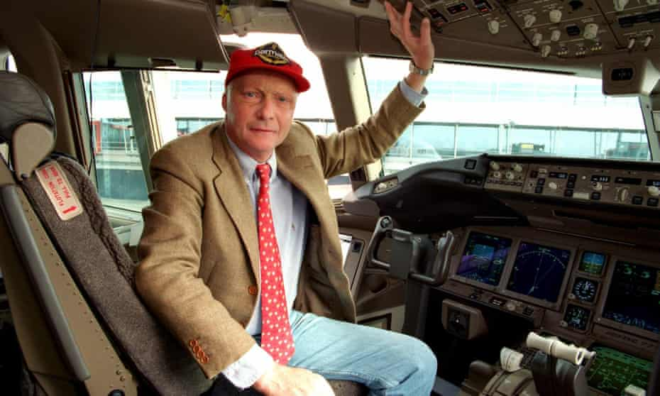 Niki Lauda, in 1997, inside the cockpit of a Boeing 777-200. He founded his own airline, Lauda Air, in 1979.