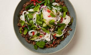 A fragrant main: Yotam Ottlenghi's crunchy noodle salad with mushroom and peanut laab.