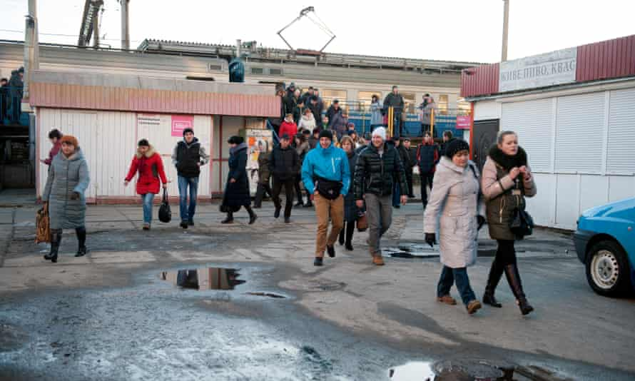 Workers from the Chernobyl plant return by train to Slavutych.