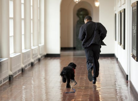 With Bo, the first family's dog, on 15 March 2009