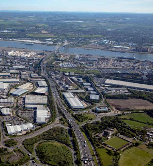 Aerial view of the A282 near the M25 looking Thurrock, Essex.