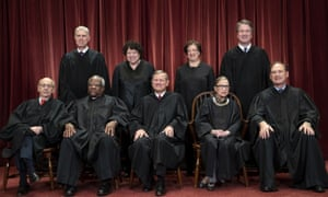 Seated from left: Stephen Breyer, Clarence Thomas, Chief Justice John Roberts, Ruth Bader Ginsburg and Samuel Alito. Standing behind from left: Neil Gorsuch, Sonia Sotomayor, Elena Kagan and Brett Kavanaugh.