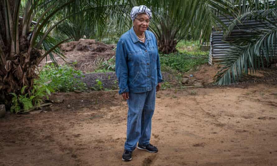 Ellen Johnson Sirleaf on her farm in Julejuah.