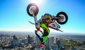 Jack Field performs the highest recorded backflip on a motorcycle on the roof of Eureka Tower in Melbourne, Australia