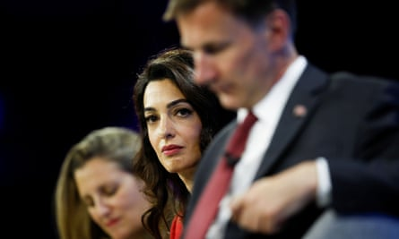 Canadian foreign minister, Chrystia Freeland, left, human rights lawyer Amal Clooney, and former UK foreign minister Jeremy Hunt at the media freedom conference in London.