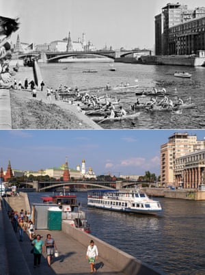 <strong>1963</strong><br>A rowimg competitions on the Moskva River; and a tourist boat in the same sport in 2015.