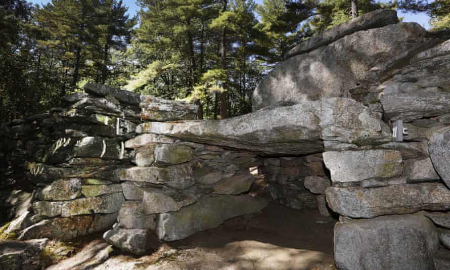 A rock formation called 'America's Stonehenge' in Salem, New Hampshire.