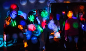Dances at an illegal rave in an abandoned warehouse in east London in 2014