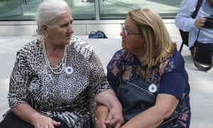Munira Subašić (left), the president of the Mothers of Srebrenica, with Nermina Lakota