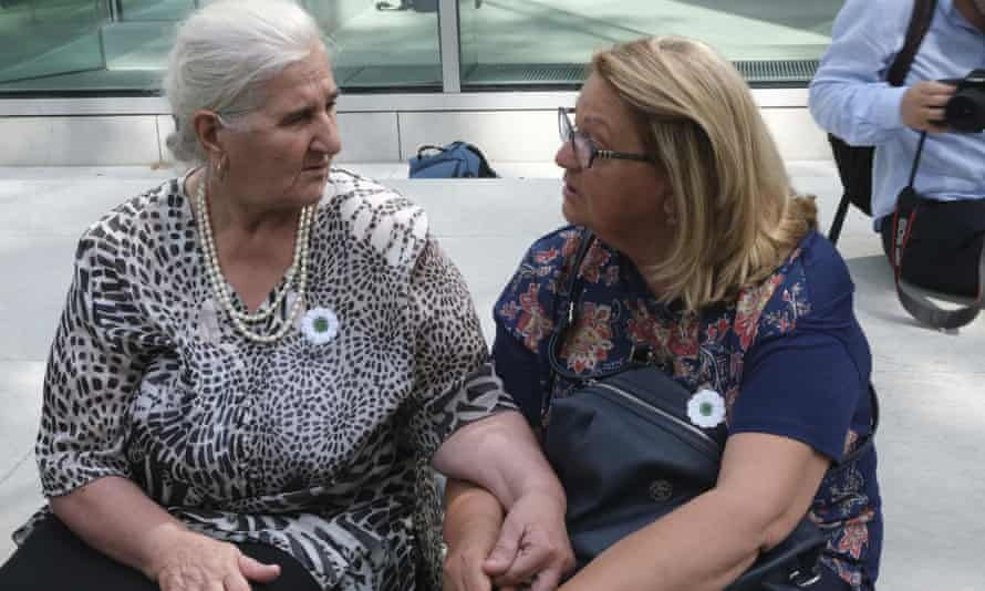 Munira Subašić (left), the president of the Mothers of Srebrenica, with Nermina Lakota