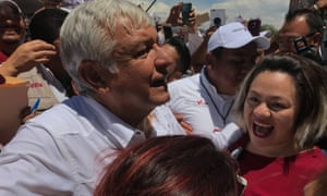 Andrés Manuel López Obrador is mobbed by fans during a recent campaign event in Ecatepec, one of Mexico's most violent and deprived cities.