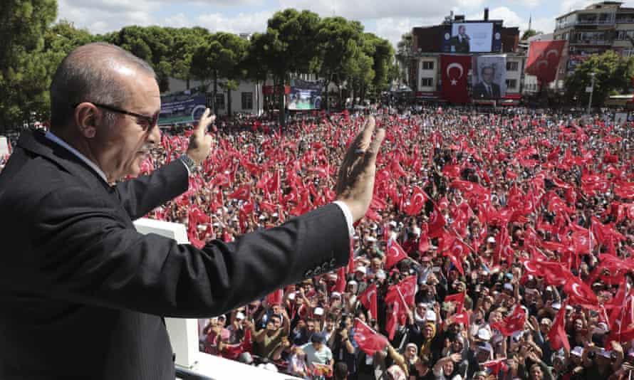 Recep Tayyip Erdogan addresses his supporters in Ordu, Turkey