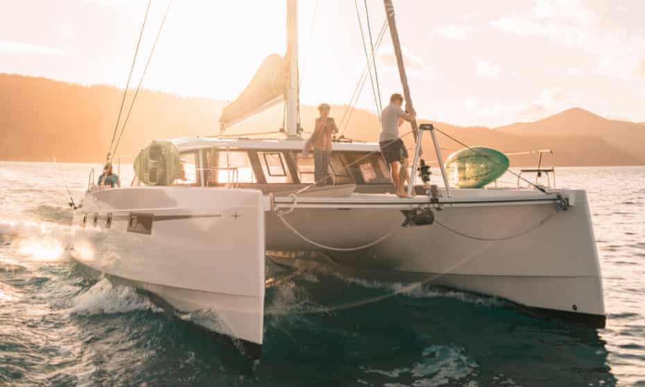 Catamaran sailing the Whitsundays. Operator Providence Sailing turned down a tour and transport operators' prize after hearing Adani had sponsored it.