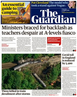 Guardian front page, Thursday 13 August 2020