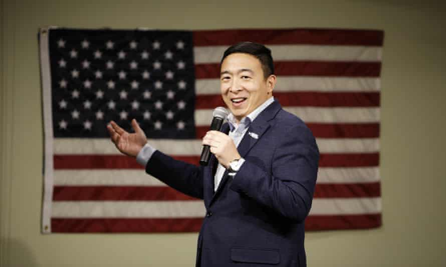 Andrew Yang at a campaign event in Mason City, Iowa, on Tuesday. His followers called themselves the 'Yang Gang'.