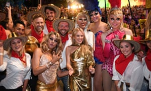 Kylie Minogue with participants during the 2019 Sydney Gay & Lesbian Mardi Gras Parade.