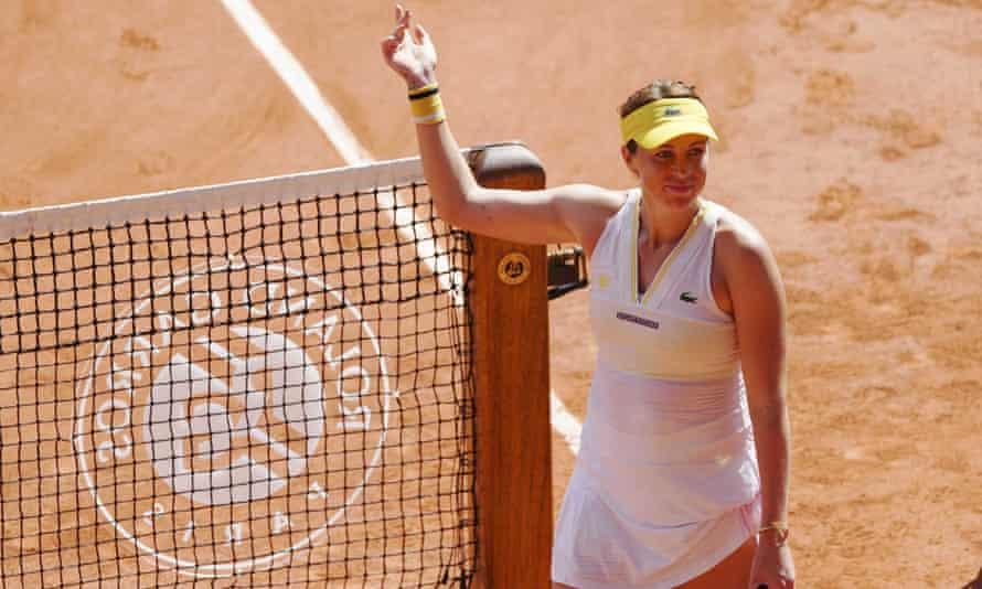 Russia's Anastasia Pavlyuchenkova celebrates victory in her French Open semi-final against Tamara Zidansek.