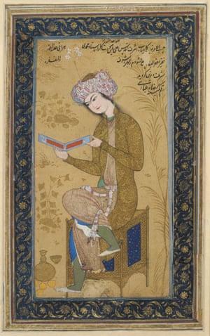 Seated Youth Reading (c 1625–26, Isfahan, Iran).