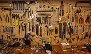 bike tools in the Brick Lane Bikes workshop, Shoreditch, London.