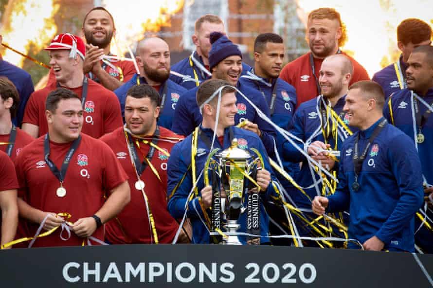 England receiving the Six Nations trophy in London last week.