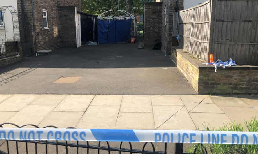 The scene at Somerford Grove in Hackney where a boy was stabbed to death.