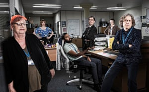 'Flawed humanity': Jo Brand, Isy Suttie, Himesh Patel, Kevin Eldon, Denise Donnelly and Alan Davies as social workers in Damned.